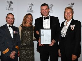 Rob and Sam Simpson receive the Armed Forces Covenant Silver Award in Cambridge